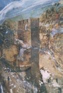 """Castello della Cecchignola, Roma. Torre della Cecchignola con merli """"ghibellini"""" nell'affresco del Durante"""