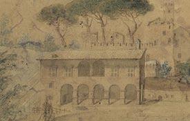 Castello della Cecchignola, Roma. Acquerello del XIX secolo raffigurante il Casino del Cardinal Bessarione e del sottostante ninfeo.